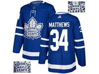 Mens Adidas Nhl Toronto Maple Leafs #34 Auston Matthews Blue Fashion Gold Lace Embroidery Jersey