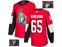 Mens Adidas Nhl Ottawa Senators #65 Erik Karlsson Red Fashion Gold Lace Embroidery Jersey