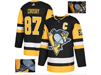 Mens Adidas Nhl Pittsburgh Penguins #87 Sidney Crosby Black Fashion Gold Lace Embroidery Jersey