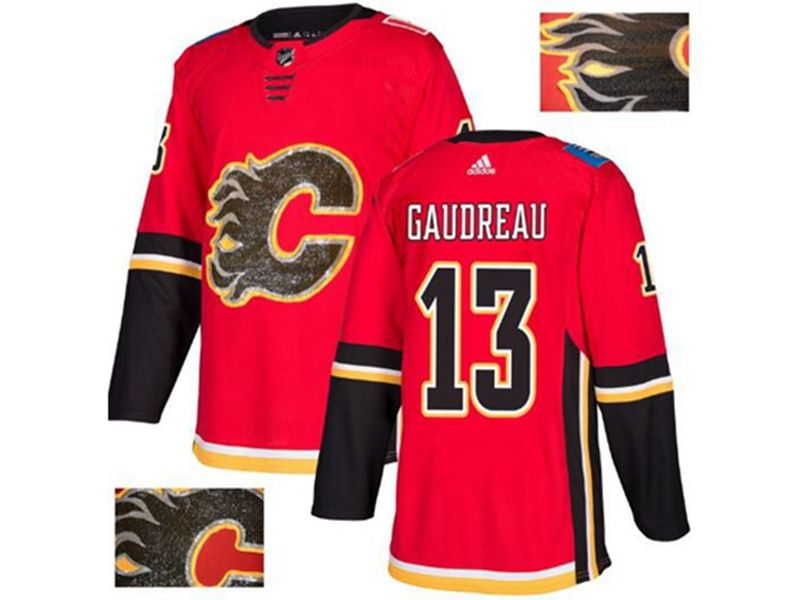 Mens Adidas Nhl Calgary Flames #13 Johnny Gaudreau Red Fashion Gold Lace Embroidery Jersey