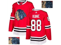 Mens Adidas Nhl Chicago Blackhawks #88 Patrick Kane Red Fashion Gold Lace Embroidery Jersey