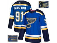 Mens Adidas Nhl St.louis Blues #91 Vladimir Tarasenko Blue Fashion Gold Lace Embroidery Jersey