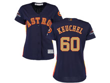 Women Mlb Houston Astros #60 Dallas Keuchel Navy 2018 Gold Program Cool Base Player Jersey