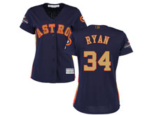 Women Mlb Houston Astros #34 Nolan Ryan Navy 2018 Gold Program Cool Base Player Jersey