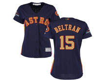 Women Mlb Houston Astros #15 Carlos Beltran Navy 2018 Gold Program Cool Base Player Jersey