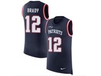 Mens Nfl New England Patriots #12 Tom Brady Blue Tank Top 2018 Limited Jersey