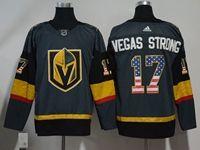 Mens Nhl Vegas Golden Knights #17 Vegas Strong Gray (usa Flag Fashion) Adidas Jersey