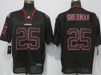 Mens Nfl San Francisco 49ers #25 Richard Sherman Black Lights Out Elite Nike Jersey