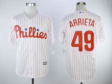 Mens Majestic Philadelphia Phillies #49 Jake Arrieta White Cool Base Player Jersey