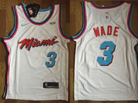 Mens Nba Miami Heat  3 Dwyane Wade White Nike Vice Uniform City Edition  Swingman Jersey 5b38b68d7