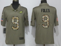 Mens Philadelphia Eagles #9 Nick Foles Green Olive Camo Carson 2017 Salute To Service Limited Jersey