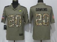 Mens Philadelphia Eagles #20 Brian Dawkins Green Olive Camo Carson 2017 Salute To Service Limited Jersey