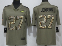 Mens Philadelphia Eagles #27 Malcolm Jenkins Green Olive Camo Carson 2017 Salute To Service Limited Jersey