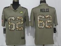 Mens Philadelphia Eagles #62 Jason Kelce Green Olive Camo Carson 2017 Salute To Service Limited Jersey