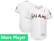 Men's Majestic Miami Marlins White 2018 Mother's Day Home Flex Base Team Jersey