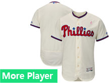 Mens Majestic Philadelphia Phillies Cream 2018 Mother's Day Home Flex Base Team Jersey