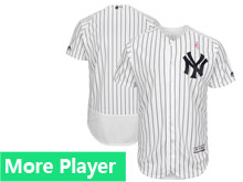 Mens Majestic New York Yankees White Stripe 2018 Mother's Day Home Flex Base Team Jersey