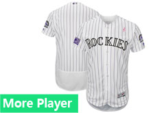 Mens Majestic Colorado Rockies White Stripe 2018 Mother's Day Home Flex Base Team Jersey