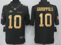 Mens Nike Nfl San Francisco 49ers #10 Jimmy Garoppolo Gold Anthracite Salute To Service Limited Jersey