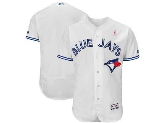 Mens Majestic Toronto Blue Jays White 2018 Mother's Day Home Flex Base Team Jersey