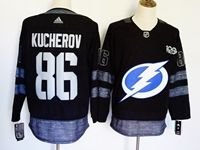 Mens Nhl Tampa Bay Lightning #86 Nikita Kucherov 100th Anniversary Black Adidas Jersey
