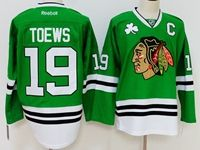 Mens Reebok Nhl Chicago Blackhawks #19 Jonathan Toews Green With C Jersey