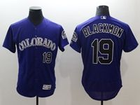 Mens Majestic Colorado Rockies #19 Charlie Blackmon Purple Flex Base Jersey