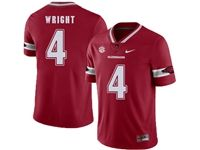 Mens Nike Ncaa Nfl Arkansas Razorbacks #4 Wright Red (white Number) Jersey
