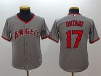 Womens Youth Mlb Los Angeles Angels #17 Shohei Ohtani Gray Cool Base Jersey