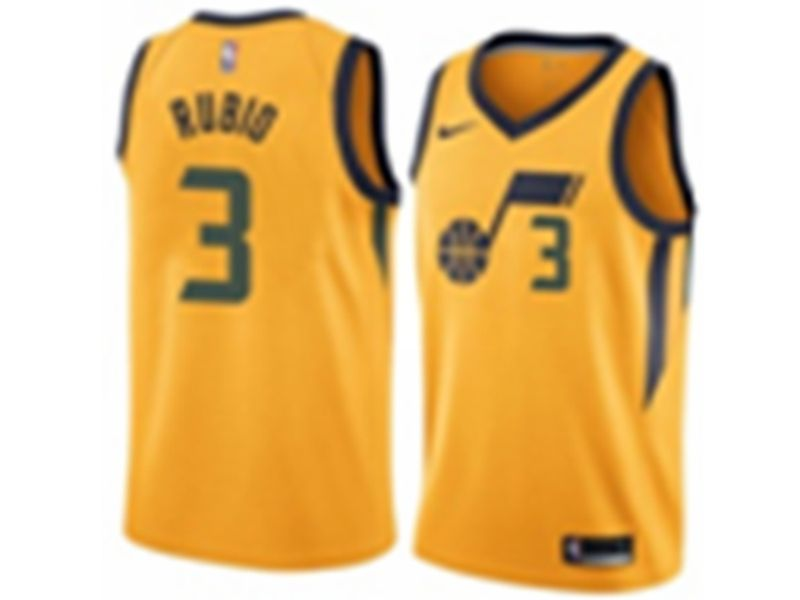 Mens 2017-18 Season Nba Utah Jazz #3 Trey Burke Yellow Nike Statement Edition Jersey
