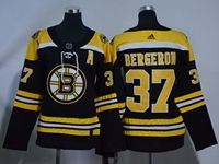 Women Youth Nhl Boston Bruins #37 Patrice Bergeron (a) Black Home Adidas Jersey