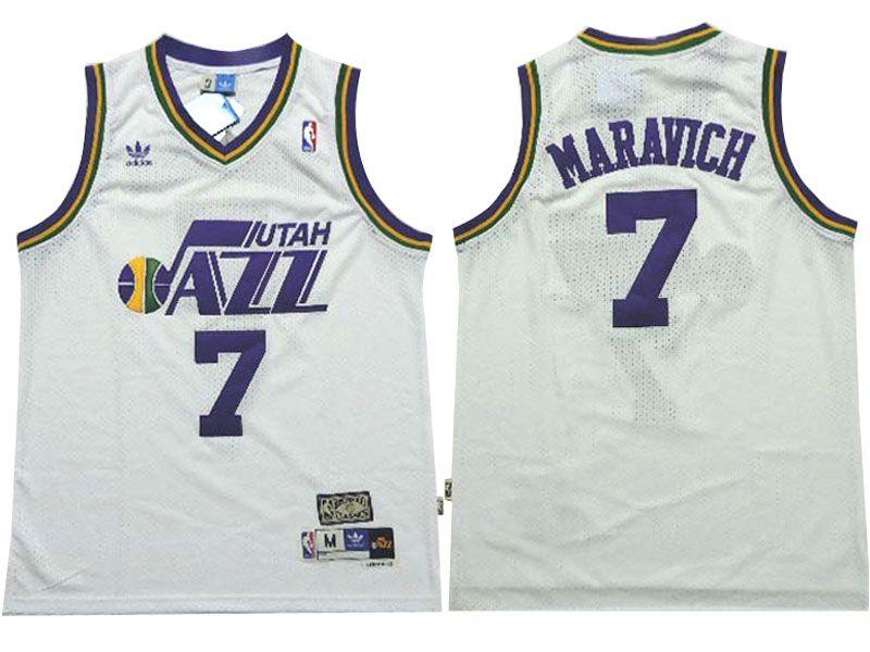 Mens Nba Utah Jazz #7 Pete Maravich White Adidas Mesh Hardwood Classics Jersey