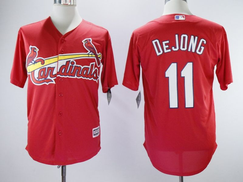 Mens Majestic St. Louis Cardinals #11 Dejong Red Cool Base Jersey