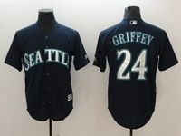 Mens Mlb Seattle Mariners #24 Ken Griffey Jr Navy Blue Cool Base Jersey