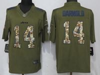 Mens Nfl New York Jets #14 Sam Darnold Green Salute To Service Limited Nike Jersey