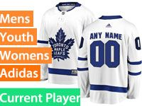 Mens Women Youth Adidas Toronto Maple Leafs White Away Current Player Jersey