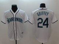 Mens Mlb Seattle Mariners #24 Ken Griffey Jr White Cool Base Jersey