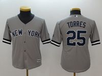 Youth Mlb New York Yankees #25 Gleyber Torres Gray Cool Base Jersey