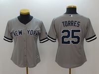 Women Mlb New York Yankees #25 Gleyber Torres Gray Cool Base Jersey