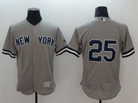 Mens Mlb New York Yankees #25 Gleyber Torres Gray Flex Base Jersey No Name