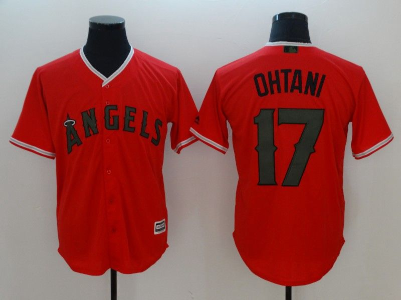 Mens Mlb Los Angeles Angels #17 Shohei Ohtani Orange 2018 Memorial Day Cool Base Jersey