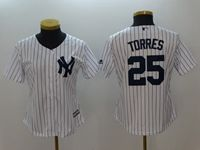 Women Mlb New York Yankees #25 Gleyber Torres White Cool Base Jersey