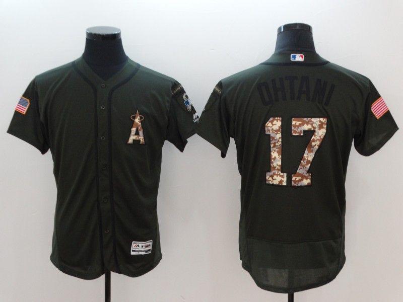 Mens Mlb Los Angeles Angels #17 Shohei Ohtani Green Pullover Flex Base Jersey