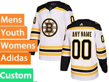 Mens Women Youth Nhl Boston Bruins Custom Made White Home Adidas Jersey
