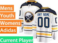 Mens Women Youth Adidas Buffalo Sabres White Away Current Player Jersey