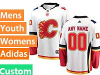 Mens Women Youth Nhl Calgary Flames Custom Made White Adidas Jersey