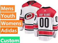 Mens Nhl Carolina Hurricanes Custom Made Adidas Away White  Jersey