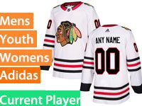 Mens Women Youth Adidas Chicago Blackhawks White Away Current Player Jersey