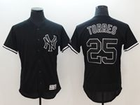 Mens Mlb New York Yankees #25 Gleyber Torres Black Flex Base Player Jersey