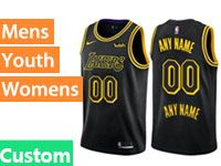 Mens Nba Los Angeles Lakers Custom Made Black Nike City Authentic Jersey
